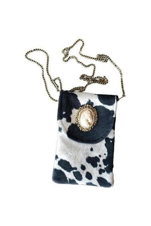 Horse Cameo Cell Phone Bag Black + White-Bags-Three Wild Horses-Three Wild Horses