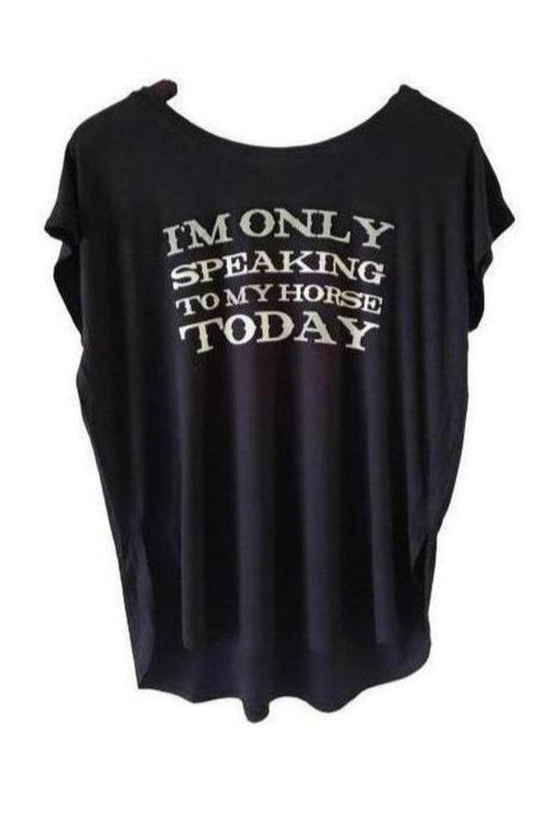 Only Speaking To My Horse Tee Shirt-T-shirt-Madison Private Label-small-Three Wild Horses