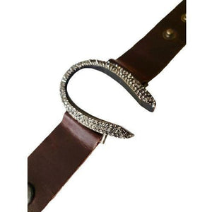 Rebel Designs Brown Horseshoe Leather Bracelet w/ Silver Night Crystals, Black Diamond-Bracelet-Rebel Designs-Three Wild Horses