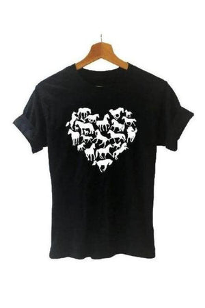 Black Love Heart Horse T Shirt in Black