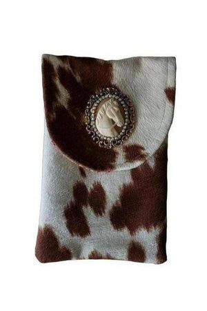 Stallion Horse Cameo Cell Phone Bag Tan + White-Bags-Three Wild Horses-Three Wild Horses