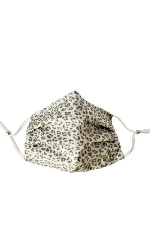 Dim Gray Cream Leopard Fancy Pleated  Face Mask with Filters + Carry Pouch