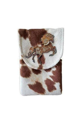 Wild Stallion Cell Phone Bag Tan + White-Bags-Three Wild Horses-Three Wild Horses