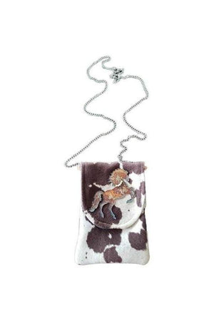 Horse Cameo Cell Phone Bag Chocolate + White-Bags-Three Wild Horses-Three Wild Horses