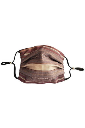 Rosy Brown Lauren Striped Fancy Pleated  Face Mask with Filters + Carry Pouch