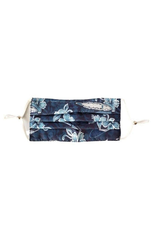 Dark Slate Gray Blue Lagoon Hawaiian Surf Fancy Pleated  Face Mask with Filters + Carry Pouch