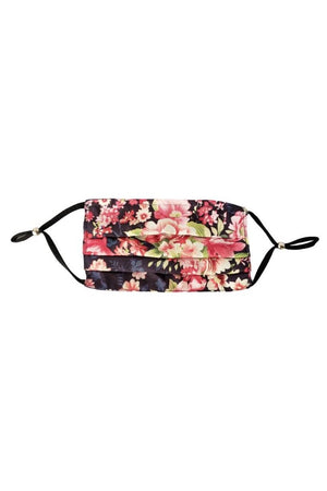 Maroon Pink Wildflowers Fancy Pleated  Face Mask with Filters + Carry Pouch