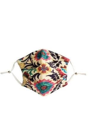 Bisque Spanish Flower Fancy Pleated  Face Mask with Filters + Carry Pouch