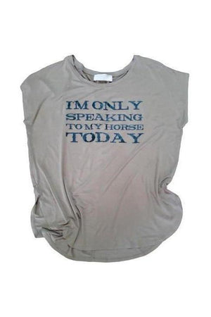 Only Speaking To My Horse Tee Shirt Olive-Madison Private Label-small-Three Wild Horses
