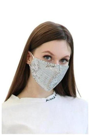 Gray Fashion Bling Face Mask + Filters Silver