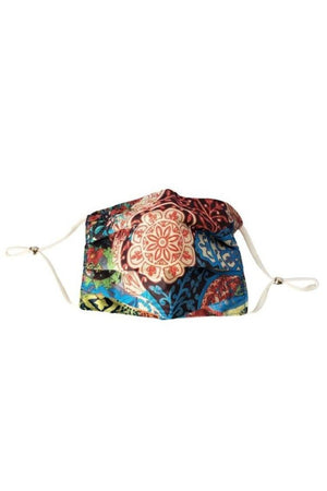 Tan Mandala Fancy Pleated  Face Mask with Filters + Carry Pouch