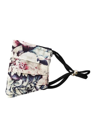 Gray Vintage Floral White Fancy Pleated  Face Mask with Filters + Carry Pouch