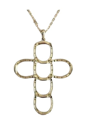 Rosy Brown Horseshoe Faith & Luck Cross Necklace - Gold