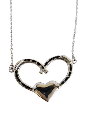 Gray Double Horseshoe Heart Necklace - Silver