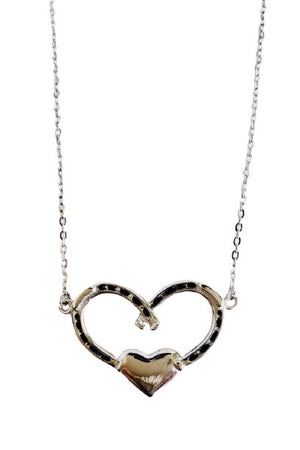 White Smoke Double Horseshoe Heart Necklace - Silver
