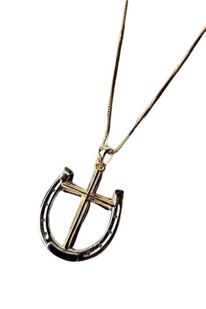 Seashell A Rider's Prayer Equestrian  Horseshoe Necklace -  Gold/Silver on Gold Chain
