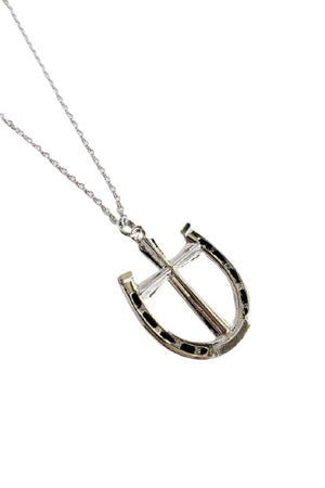 Gray A Rider's Prayer Equestrian Horseshoe Necklace - Silver
