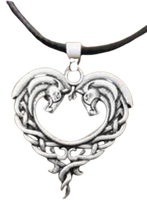 White Smoke Celtic Horse Lords Necklace in Silver