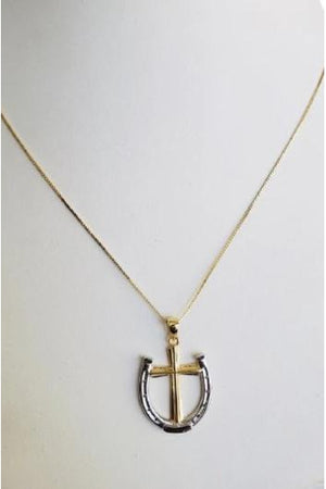 Light Gray A Rider's Prayer Equestrian  Horseshoe Necklace -  Gold/Silver on Gold Chain