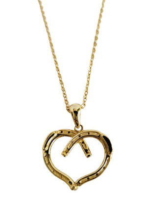 Tan Wild at Heart Horseshoe Necklace Gold