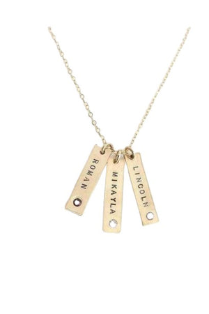 Bisque Personalized Vertical Bar Necklace with Inset Crystals