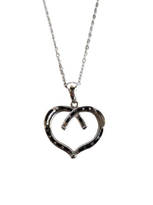 White Smoke Heart Shaped Horseshoe Necklace SIlver