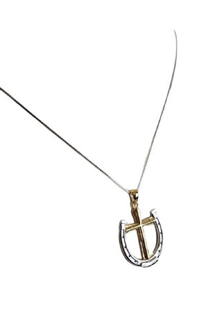 White Smoke A Rider's Prayer Equestrian Necklace - Gold & Silver on Silver Chain