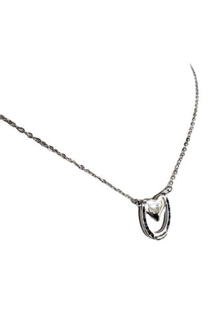 White Smoke Capture my Heart Horseshoe Necklace in Sterling Silver