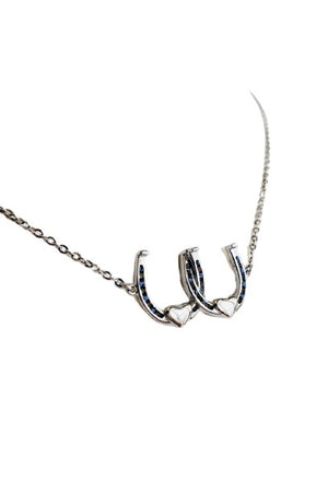White Smoke Double Your Luck Horseshoe Necklace - Silver