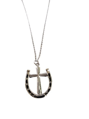 White Smoke A Rider's Prayer Equestrian Horseshoe Necklace - Silver