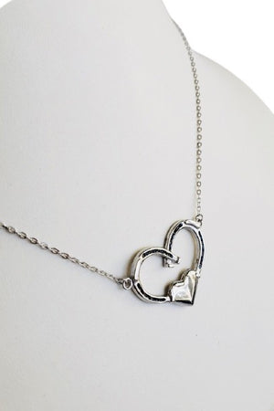 Dark Gray Double Horseshoe Heart Necklace - Silver