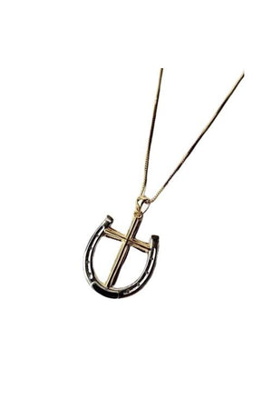 White Smoke A Rider's Prayer Equestrian  Horseshoe Necklace -  Gold/Silver on Gold Chain