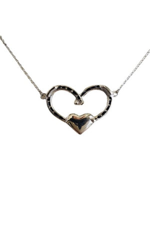 Dim Gray Double Horseshoe Heart Necklace - Silver