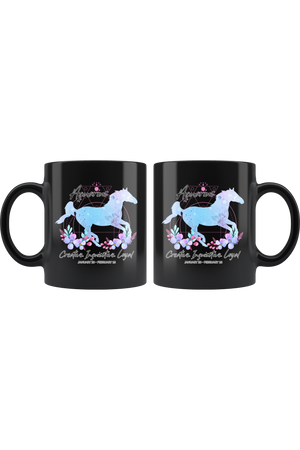 Aquarius Zodiac Horse Black Mug-Drinkware-teelaunch-Aquarius Blue Horse Black Mug-Three Wild Horses