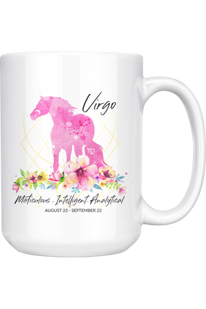 Virgo Zodiac Horse Coffee Mug-Drinkware-teelaunch-Virgo Pink Horse Coffee Mug-Three Wild Horses
