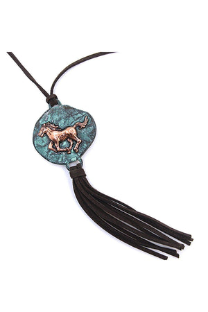 Horse Pendant Tassel Necklace-Jewelry-Three Wild Horses-Three Wild Horses