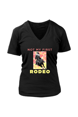 Not My First Rodeo Horse Shirt-T-shirt-teelaunch-Womens V-Neck-Black-S-Three Wild Horses