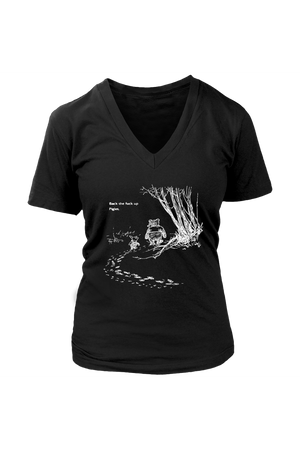 Pooh + Piglet TOPS IN BLACK NSFW-T-shirt-teelaunch-Womens V-Neck-Black-S-Three Wild Horses