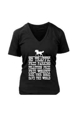 Ride Your Horse, Save the World - Tops-Tops-teelaunch-Womens V-Neck-Black-S-Three Wild Horses