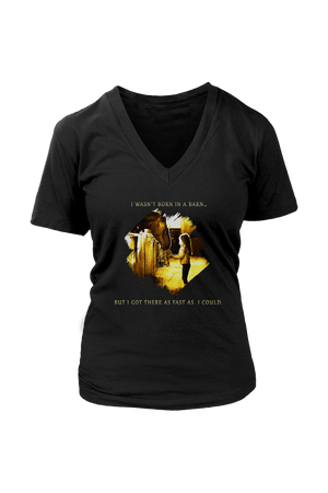 I Was Not Born In The Barn Tops-T-shirt-teelaunch-Womens V-Neck-Black-S-Three Wild Horses