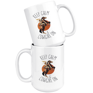 White Smoke Keep Calm & Cowgirl On Mug