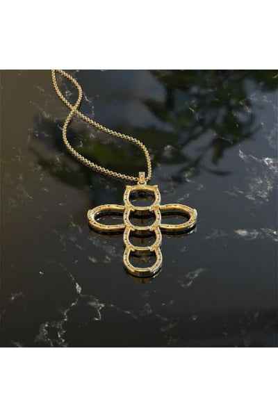 Gold Cross Necklace made with Horseshoes