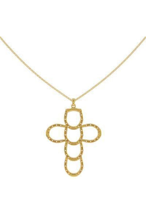 Horseshoe Faith & Luck Cross Necklace - Silver or Gold-Jewelry-Three Wild Horses-24k Gold Plated .925 Silver-Three Wild Horses