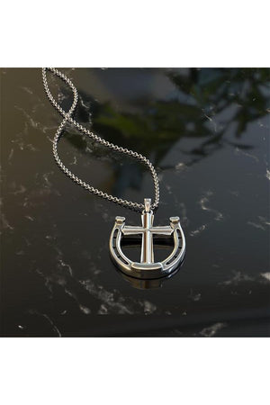 A Rider's Prayer Equestrian Horseshoe Necklace - Silver-Jewelry-Three Wild Horses-.925 Sterling Silver-Three Wild Horses