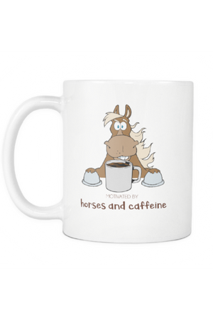 Horses and Caffeine - Mug-Drinkware-teelaunch-COFFEE MUG 11 OZ-Three Wild Horses