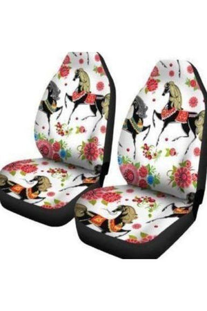 White Horses & Flowers Car Seat Covers-Car Seats Covers-Pillow Profits-Universal Fit-Three Wild Horses