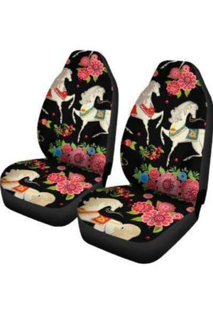 Black Horses & Flowers Car Seat Covers-Car Seats Covers-Pillow Profits-Universal Fit-Three Wild Horses