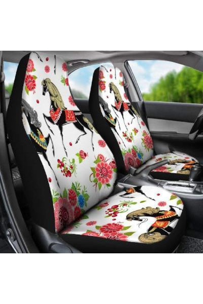 White Horses & Flowers Car Seat Covers
