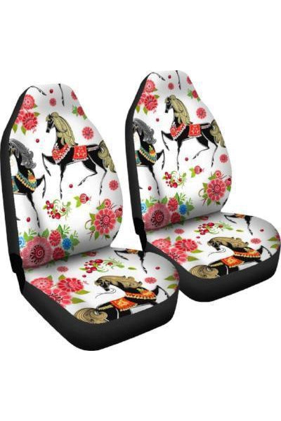 White Horses & Flowers Car Seat Covers Right View