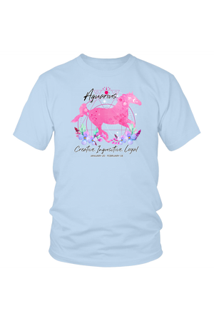 Aquarius Zodiac Horse Unisex Shirt-T-shirt-teelaunch-District Unisex Shirt-Ice Blue-S-Three Wild Horses